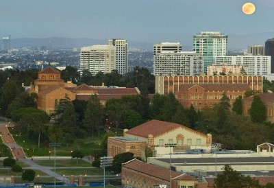 The view from Hedrick Hall, looking east across the campus to downtown Los Angeles. Janss Steps lead up the hill to Royce Hall and Powell Library, two of UCLA's original buildings (1929).